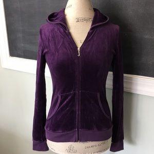 Juicy Couture purple velour hoodie XS 14